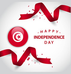 happy tunisia independence day template design vector image