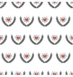 heart between laurel wreath seamless vector image