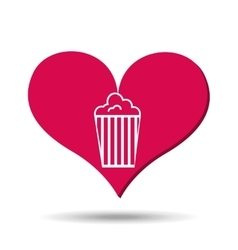 heart red cartoon pop corn icon design vector image