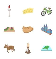 Holland icons set cartoon style vector
