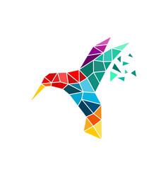 hummingbird tech logo digital bird logo template vector image