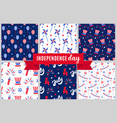 Independence day of america festive pattern set vector
