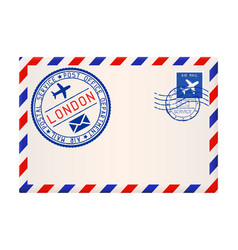 international air mail envelope from london with vector image