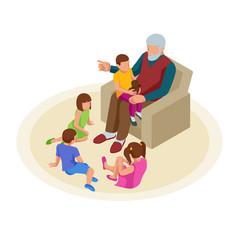 Isometric grandfather tells grandchildren tales in vector