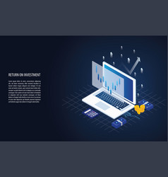 isometric return on investment roi graph and chart vector image