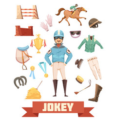 Jockey ammunition decorative icons set vector