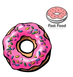 Logo and set the sketch of donut vector
