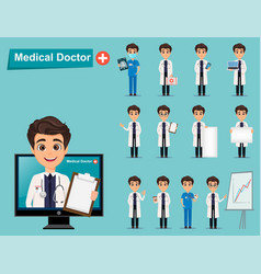medical doctor set cute cartoon character eps10 vector image