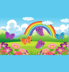 Nature scene background with butterflies and vector