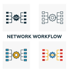 Network workflow icon set four elements in vector