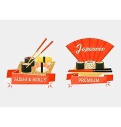 Nigirizushi and temaki sushi rolls banners vector
