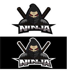 ninja face logo team vector image
