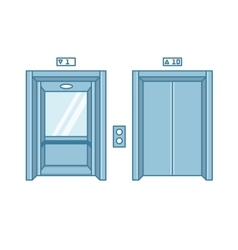 Open and closed line flat office building elevator vector image