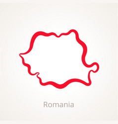 Outline map of romania marked with red line vector