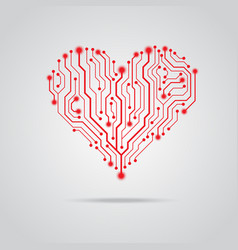 pcb red heart design vector image