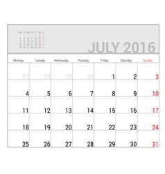 Planners for 2016 july vector