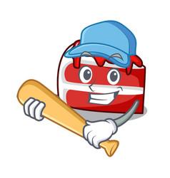 Playing baseball red velvet character cartoon vector