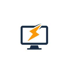Power computer logo icon design vector