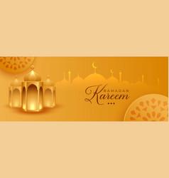 Ramadan kareem islamic golden banner design vector