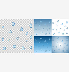 realistic water drops on a transparent background vector image
