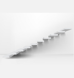 realistic white upward clear stairs in empty room vector image