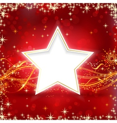 Red golden Christmas star background vector image