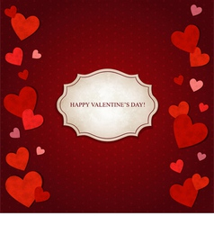 Red hearts and vintage label vector image