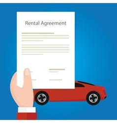 Rental agreement car hand holding document paper vector image