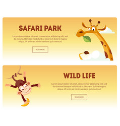 safari park wild life horizontal banners set vector image