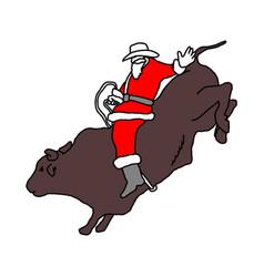 santa claus with cowboy hat riding big bull vector image
