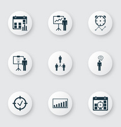 Set of 9 management icons includes project vector