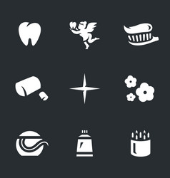 set of dental hygiene icons vector image