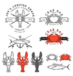 Set of retro seafood design elements vector