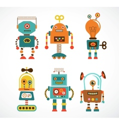 Set of vintage robot icons vector