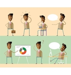 Set office characters African american managers vector