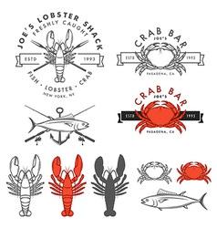 set retro seafood design elements vector image