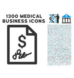 signed bill icon with 1300 medical business icons vector image