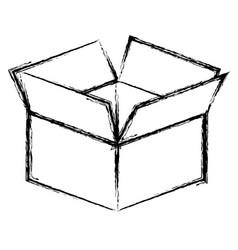silhoutte box opened icon vector image