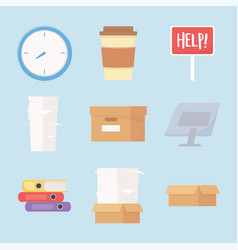 stress office work clock coffee cup paperwork vector image