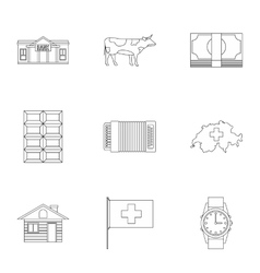 Switzerland icons set outline style vector image