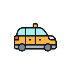 Taxicab taxi cab flat color line icon isolated vector