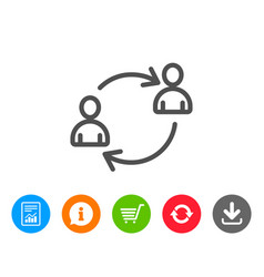Teamwork line icon profile avatar sign vector
