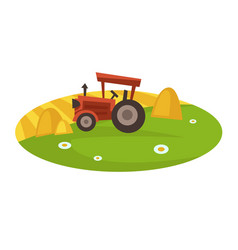 Tractor on field collects hay in neat stacks vector