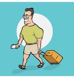 Travelling man goes with bag vector image vector image