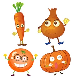 Vegetables with happy face vector image