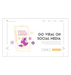 Viral mass shared landing page template cute cat vector