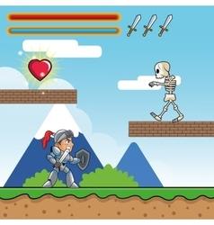 Warrior skull and videogame design vector image
