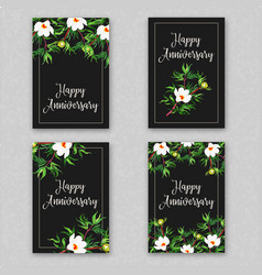 watercolor floral anniversary cards collection vector image