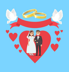Wedding day concept couple in ruddy big heart vector