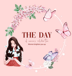 Women day wreath design with flower butterfly vector